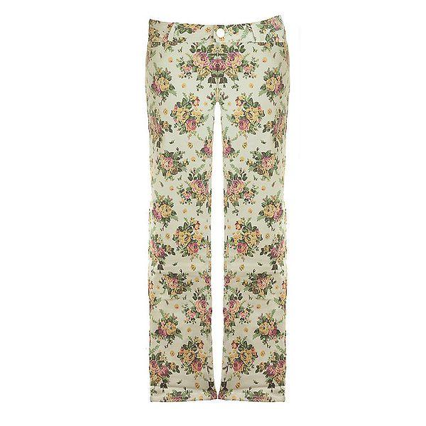 Dámské bílé květované kalhoty Mlle Agathe