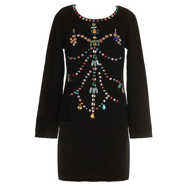 Dámské černé šaty s korálkovou aplikací Mlle Agathe
