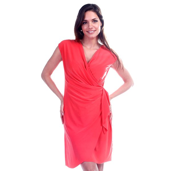 Dámske korálové zavinovacie šaty Trois Quatorze