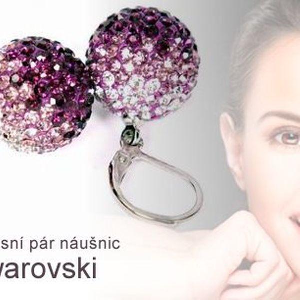 Luxusní pár náušnic Swarovski elementss krystaly ve 3 barevných provedeních