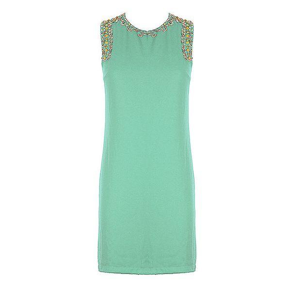 Dámské zelené pouzdrové šaty se štrasovými kamínky Mlle Agathe