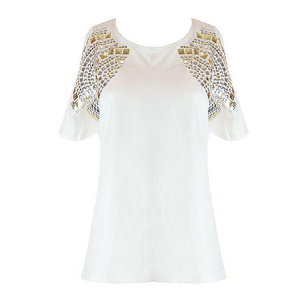 Dámske biele tričko so strieborno-zlatými aplikáciami Mlle Agathe