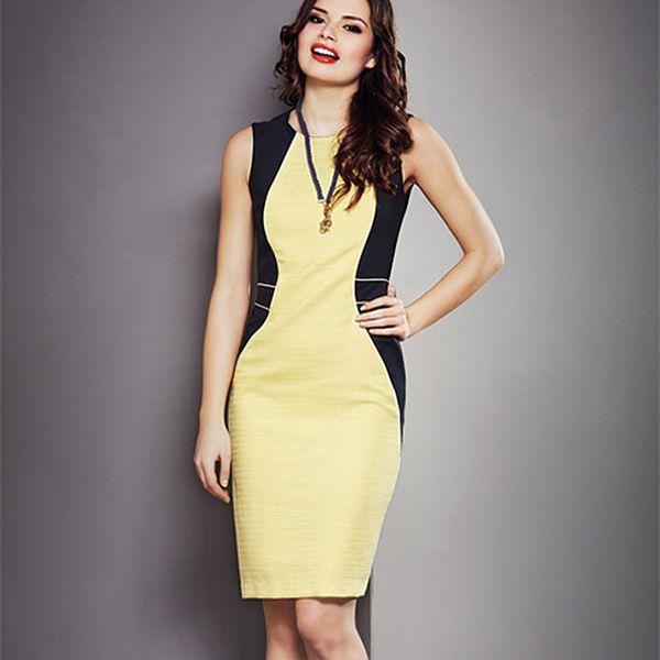 Pouzdrové žluté šaty