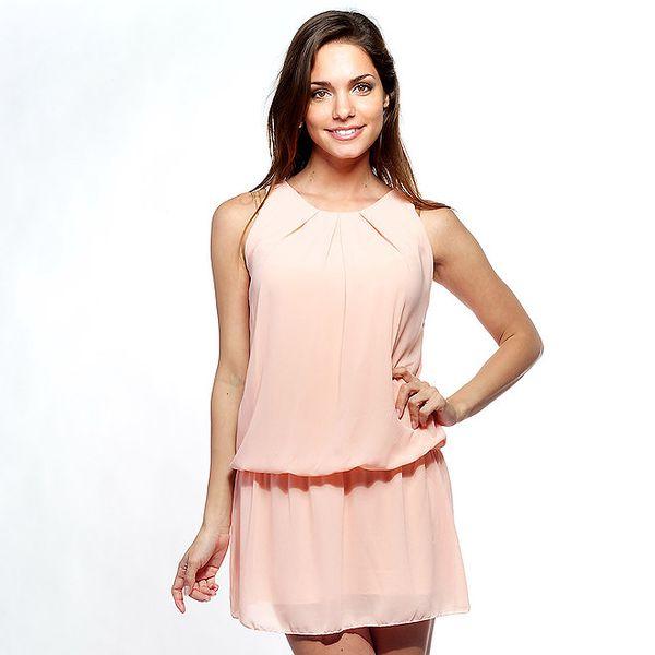 Dámske svetlo ružové šaty Trois Quatorze s čipkou