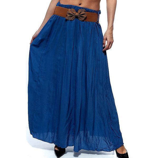 Dámska modrá dlhá sukňa s hnedým opaskom Trois Quatorze