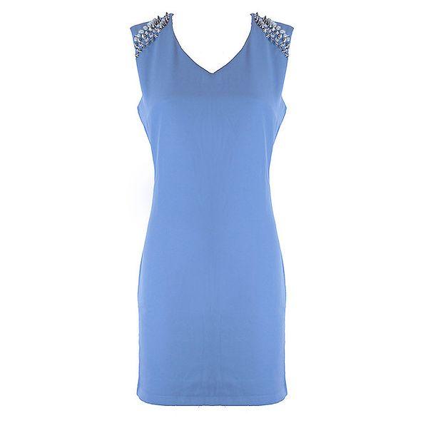 Dámske svetlo modré šaty s ostrými cvočkami Mlle Agathe