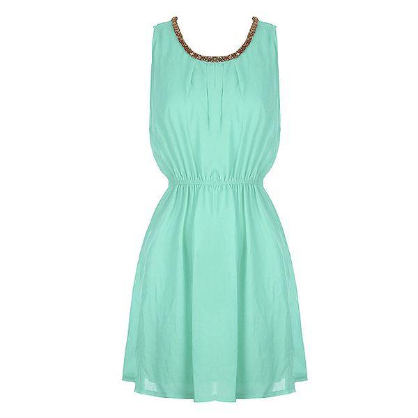 Dámské mátově zelené šaty s aplikací na výstřihu Mlle Agathe