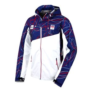 Pánská bunda Alpine Pro bílá modro-červený potisk L