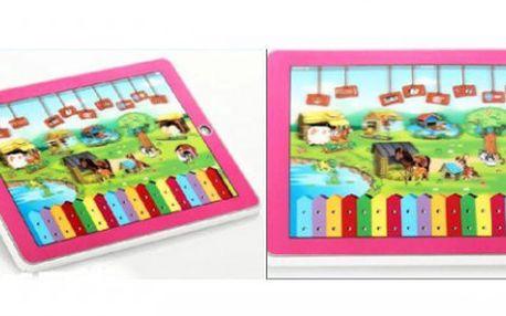 Růžový nebo modrý dětský tablet s výukou AJ za 199 Kč, možno použít i jako klavír!