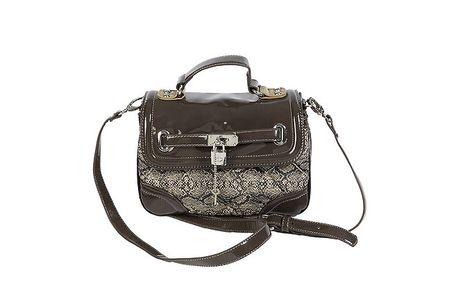 Dámska hnedá kabelka s hadím vzorom Roccobarocco