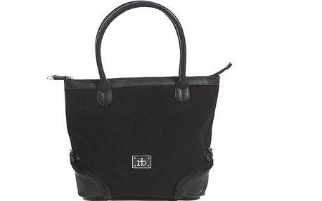 Dámska čierna kabelka s kožúškovým lemom Roccobarocco