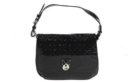 Dámska čierna lakovaná kabelka s monogramom Roccobarocco