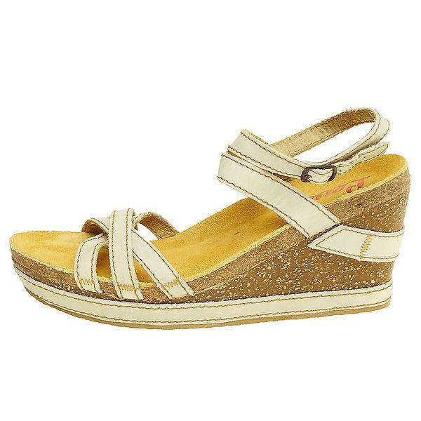 Dámske béžovo-hnedé kožené sandálky na platforme Levis