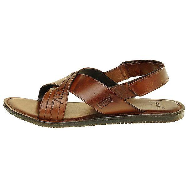 Pánské hnědé kožené sandály Levis