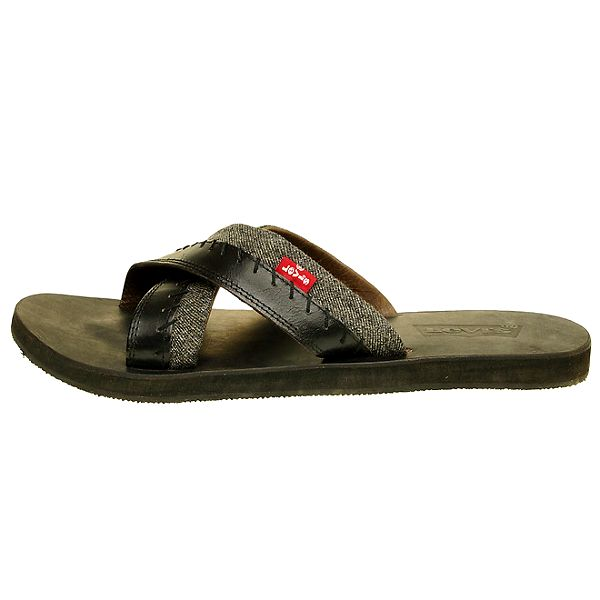 Pánské černé kožené pantofle Levis s šedým denimovým proužkem