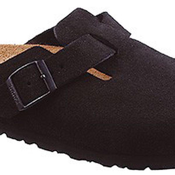 Černé semišové uzavřené pantofle Newalk