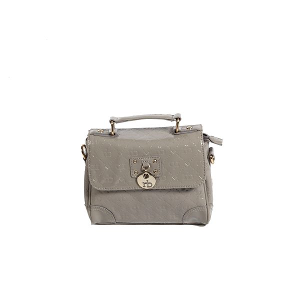 Dámská šedo-béžová lakovaná kabelka s monogramem Roccobarocco