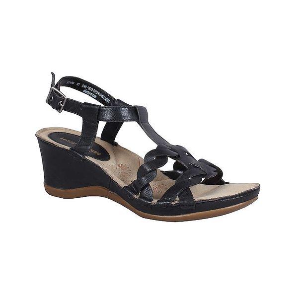 Dámské černé kožené sandálky na klínku Hush Puppies