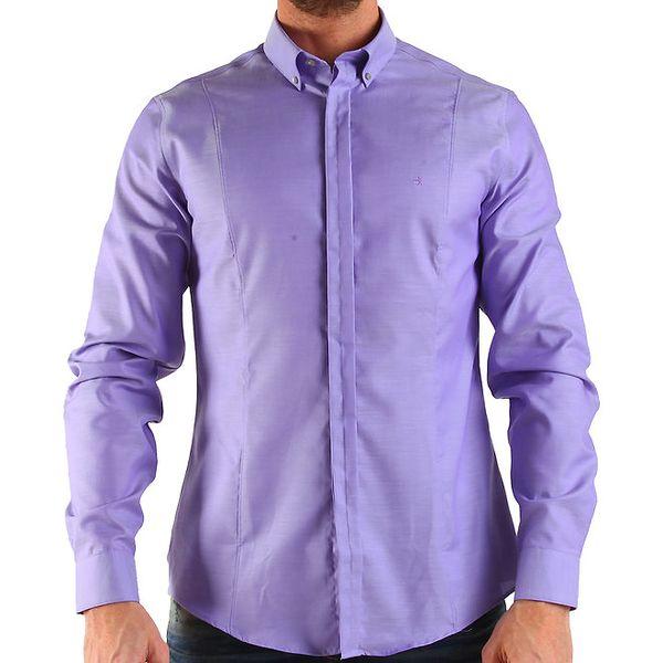Pánska lila košeľa s dlhým rukávom Calvin Klein