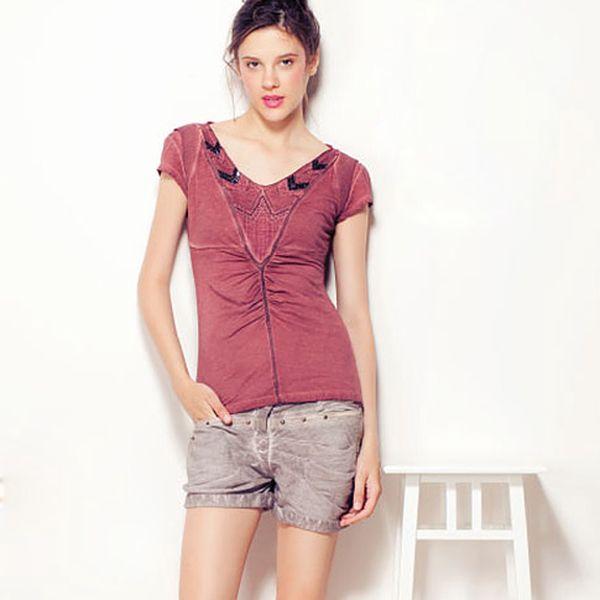 Vínové tričko s krátkým rukávem