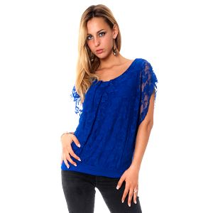Dámský modrý krajkový top Bella Rosa