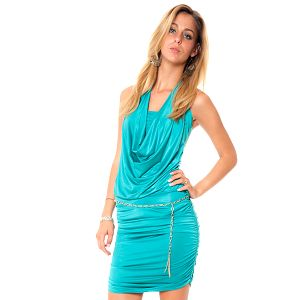 Dámske zelené krátké šaty s vodovým výstrihom Bella Rosa