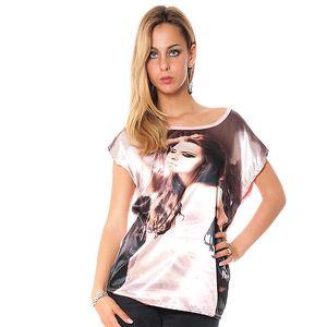Dámske voľné ružové tričko s potiskom Bella Rosa