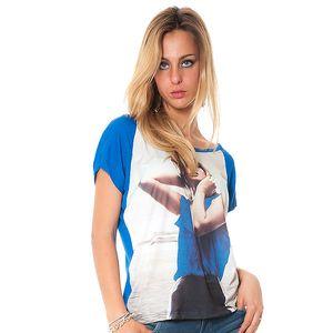 Dámske modré tričko s potiskom Bella Rosa
