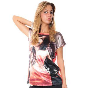 Dámske voľné korálové tričko s potiskom Bella Rosa