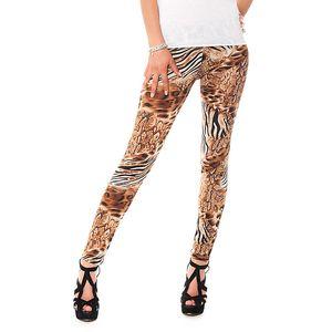 Dámske legíny s hnedým leopardím potiskom Bella Rosa