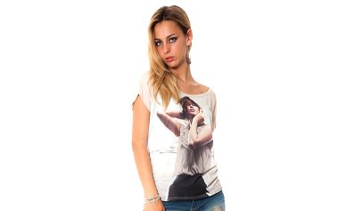Dámske béžové tričko s potiskom Bella Rosa
