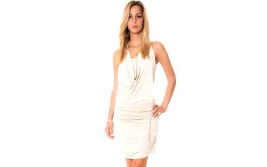 Dámske béžové krátké šaty s vodovým výstrihom Bella Rosa