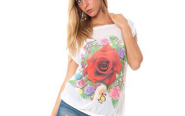 Dámské bílé tričko s potiskem květin Bella Rosa