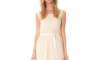Dámske béžové šaty s mašľou Bella Rosa
