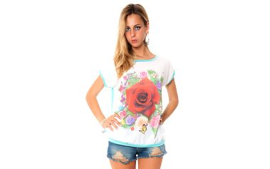 Dámske zelenkavé tričko s potiskom kvetín Bella Rosa