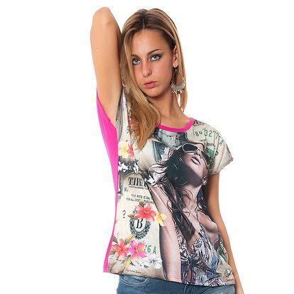 Dámske voľné fuchsiové tričko s potiskom Bella Rosa