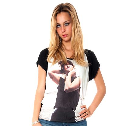 Dámske čierne tričko s potiskom Bella Rosa