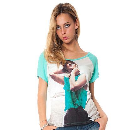 Dámske zelené tričko s potiskom Bella Rosa