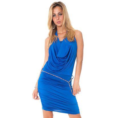 Dámske modré krátké šaty s vodovým výstrihom Bella Rosa