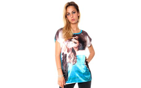 Dámske voľné modré tričko s potiskom Bella Rosa