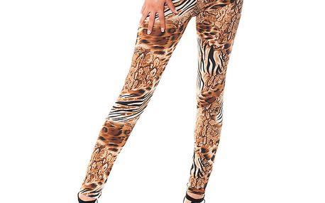 Dámské legíny s hnědým leopardím potiskem Bella Rosa