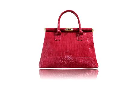 Dámska lesklá ružovočervená kabelka London Fashion