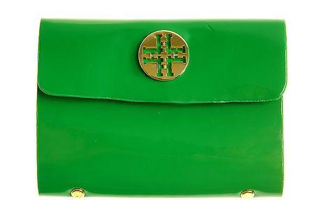 Dámske zelené lakované púzdro na dokumenty so zlatým logom Hope