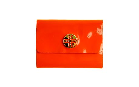 Dámske oranžové lakované púzdro na dokumenty so zlatým logom Hope