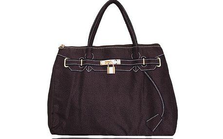 Dámska tmavo hnedá kabelka s potiskom zlatého zámčeku London Fashion