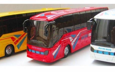 Kovový hrající, svítící autobus s otevíracími dveřmi ve 3 barevných variantách za 155 Kč! Otevírací dveře, startuje,..