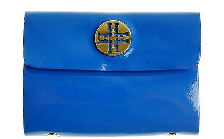 Dámske modré lakované púzdro na dokumenty so zlatým logom Hope