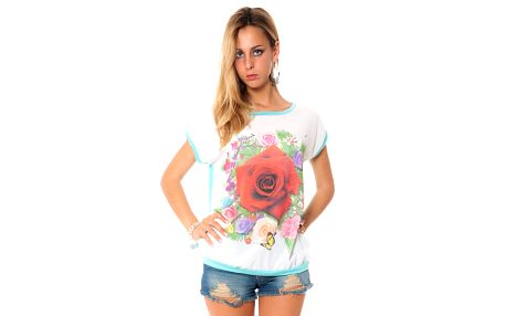 Dámské zelenkavé tričko s potiskem květin Bella Rosa