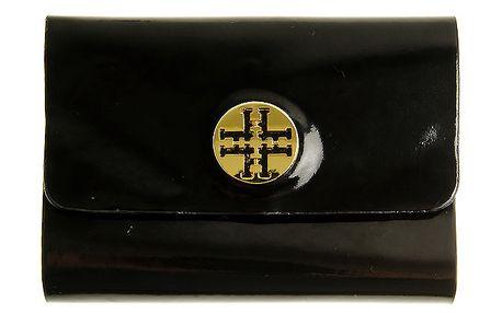 Dámske čierne lakované púzdro na dokumenty so zlatým logom Hope