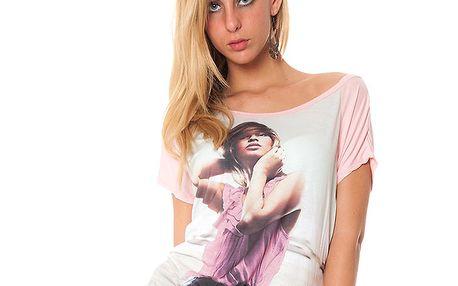 Dámske svetlo ružové tričko s potiskom Bella Rosa